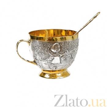 Серебряная детская чашка Маша и медведь   1627