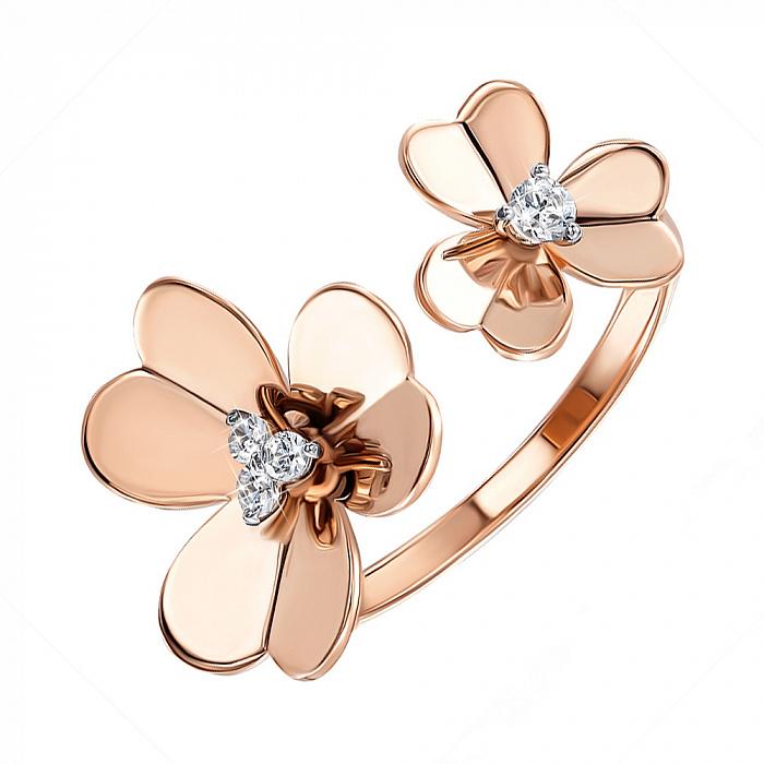 Золотое разомкнутое кольцо в комбинированном цвете с фианитами 000137504 000137504