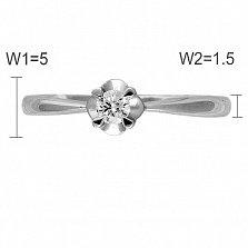 Кольцо из белого золота Цвет любви с бриллиантом