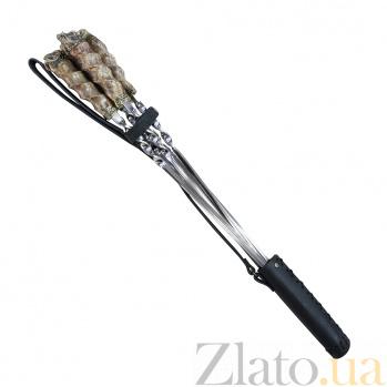 Набор шампуров Дикие животные с рукоятками из кленового капа и бронзы c кожаным чехлом 000103147