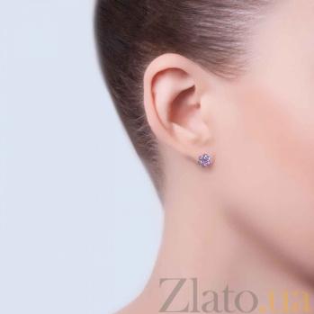 Серебряные серьги-пуссеты Плюмерия с розовым цирконием AQA-Тпс-520241р