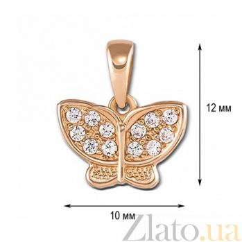 Золотая подвеска с фианитами Полет бабочки 3995 к