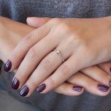 Кольцо из белого золота Единственная с бриллиантом