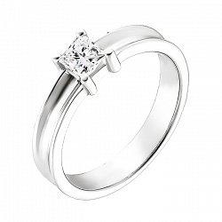 Кольцо из белого золота Елена с бриллиантом огранки принцесса