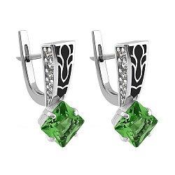 Серебряные серьги с зеленым алпанитом, эмалью и фианитами 000095489