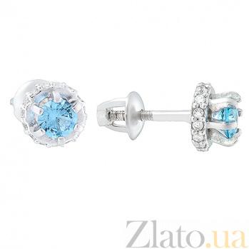Серебряные серьги с кварцем London blue и цирконием Дженифер 2075/9р кварц