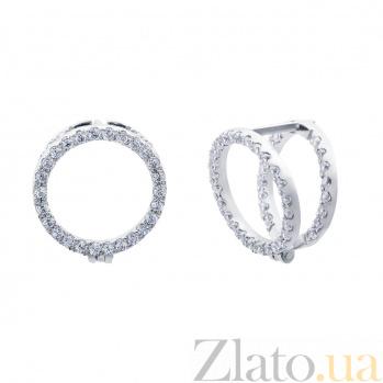 Серебряные серьги с куб. цирконом 2226 AQA--2226