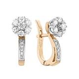 Золотые серьги Ангельские цветы в комбинированном цвете с бриллиантами