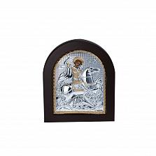 Серебряная икона Георгий Змееборец с позолотой