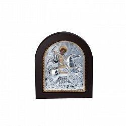 Серебряная икона Георгий Змееборец с позолотой 000050657