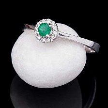 Золотое кольцо Сантара в белом цвете с изумрудом и бриллиантами