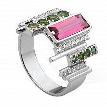 Золотое кольцо Монтегрю с розовым и зеленым турмалином, бриллиантами