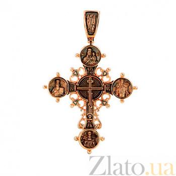Золотой крестик с черным родием Лучезарный VLT--КС3007-3