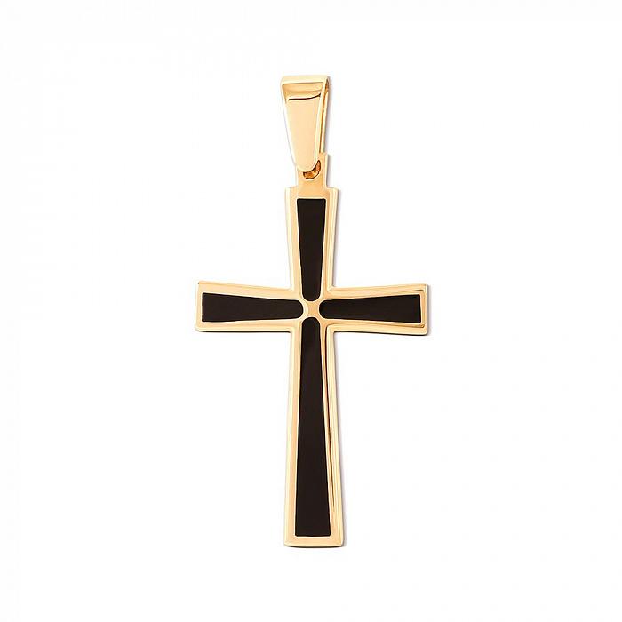 Крестик из желтого золота с эмалью 000149118 000149118
