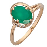 Золотое кольцо Алисия с агатом и фианитами