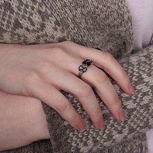 Серебряное кольцо Гроздь с гранатами
