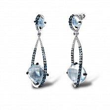 Серьги в белом золоте Сфера с голубым топазом и бриллиантами