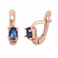 Серебряные серьги с позолотой и синими фианитами Грейс