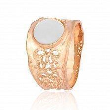 Серебряное кольцо с позолотой и перламутром Ассанта