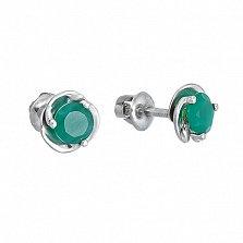 Серебряные пуссеты с зелеными агатами Подарок