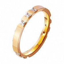 Золотое обручальное кольцо Semper Amemus с фианитами