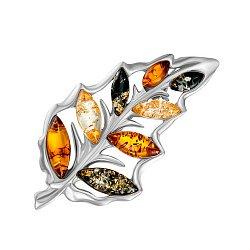 Серебряная брошь с янтарем 000145962