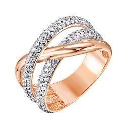 Золотое кольцо Ефросиния в комбинированном цвете с фианитами