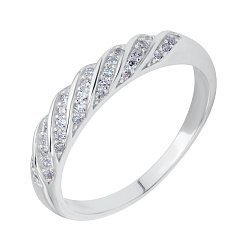 Серебряное кольцо Идеал с крученой шинкой и белыми фианитами