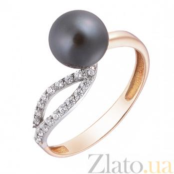 Золотое кольцо  Мелодия с черным жемчугом HUF--80389-Ч