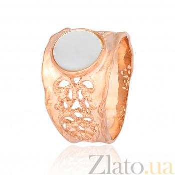 Серебряное кольцо с позолотой и перламутром Ассанта 000028181