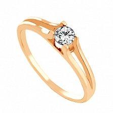 Золотое кольцо с цирконием Кармела