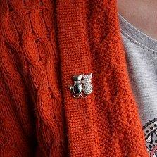 Серебряная брошка Кошачья парочка с гематитом, фианитами и золотой вставкой