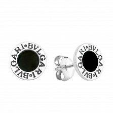 Серебряные серьги-пуссеты Витта с черным ониксом и гравировкой в стиле Булгари