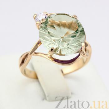 Золотое кольцо с зеленым аметистом и цирконием Джунгли VLN--112-576-5
