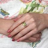 Золотое кольцо с хризолитом и бриллиантами Рандеву