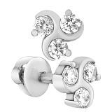 Серебряные серьги-пуссеты Завихрение с фианитами
