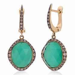 Золотые сережки с бриллиантами, агатами и горным хрусталём (1С113-0128)