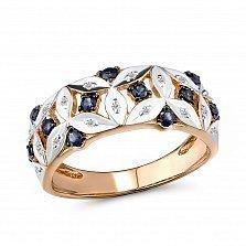Кольцо из красного и белого золота Леона с бриллиантами и сапфирами