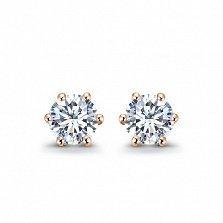 Серьги-пуссеты в красном золоте Sweet Love с бриллиантами, 0,25ct