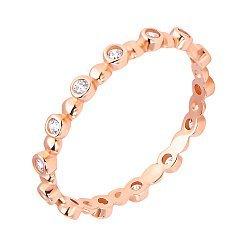 Золотое кольцо в красном цвете с завальцованными фианитами по шинке  000117078