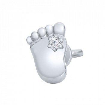 Серебряные серьги пуссеты Маленькие ножки с фианитом 000044526