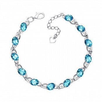Серебряный браслет с голубым кварцем и фианитами 000131006