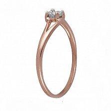 Кольцо из красного золота Виталина с раздвоенной шинкой и бриллиантом