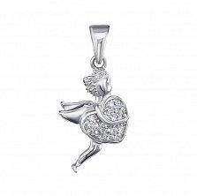 Серебряный кулон Ангел и сердечко с усыпкой из фианитов
