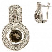 Серебряные серьги Вэнди с раухтопазом и фианитами