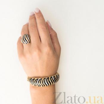 Золотой браслет Средиземноморье с черной эмалью 000082238