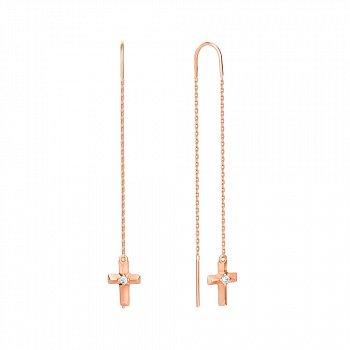 Серьги-протяжки из красного золота с фианитами 000142344