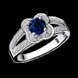 Сапфировое кольцо в белом золоте с микро-павє Chance of Love
