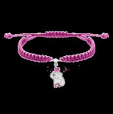 Детский плетеный браслет Мишка и бабочка с эмалью, 10х20см