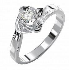 Золотое кольцо с бриллиантом Лунный цветок